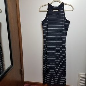 Athleta Maxi Dress Black w/white stripes Large